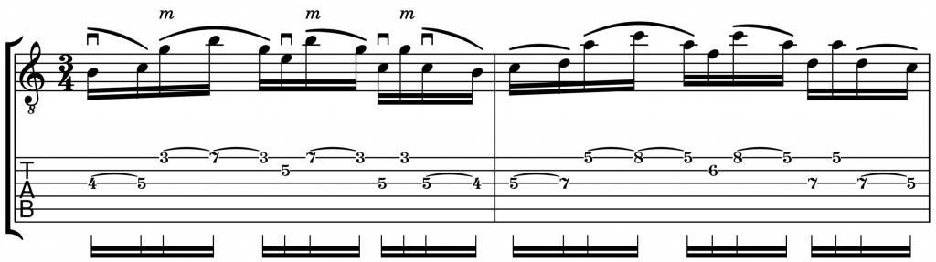 Arpegios con picado híbrido (hybrid picking) y técnica de ligado (legato technique)