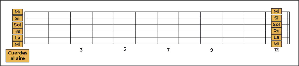 Memorización notas en la guitarra traste 12